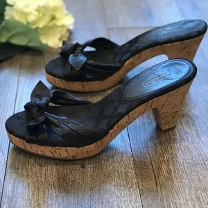 Coach Black Slides Cork Heel Ties Karen